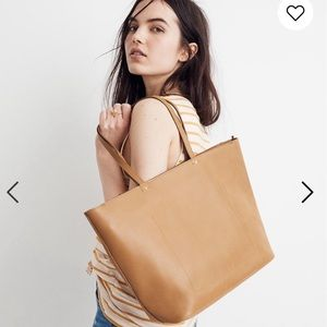 Madewell the abroad tote bag leather desert camel